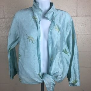 Banana Bay Women's Wrapped Up Blouse Size XL Teal